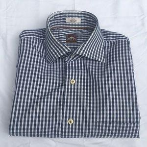 Peter Millar Mens Navy White Plaid Shirt Size M